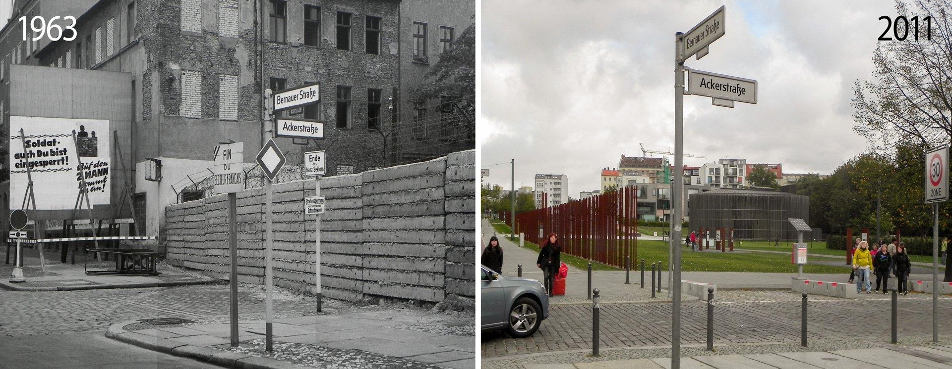 Ackerstraße Ecke Bernauer-Straße 1963 und 2011