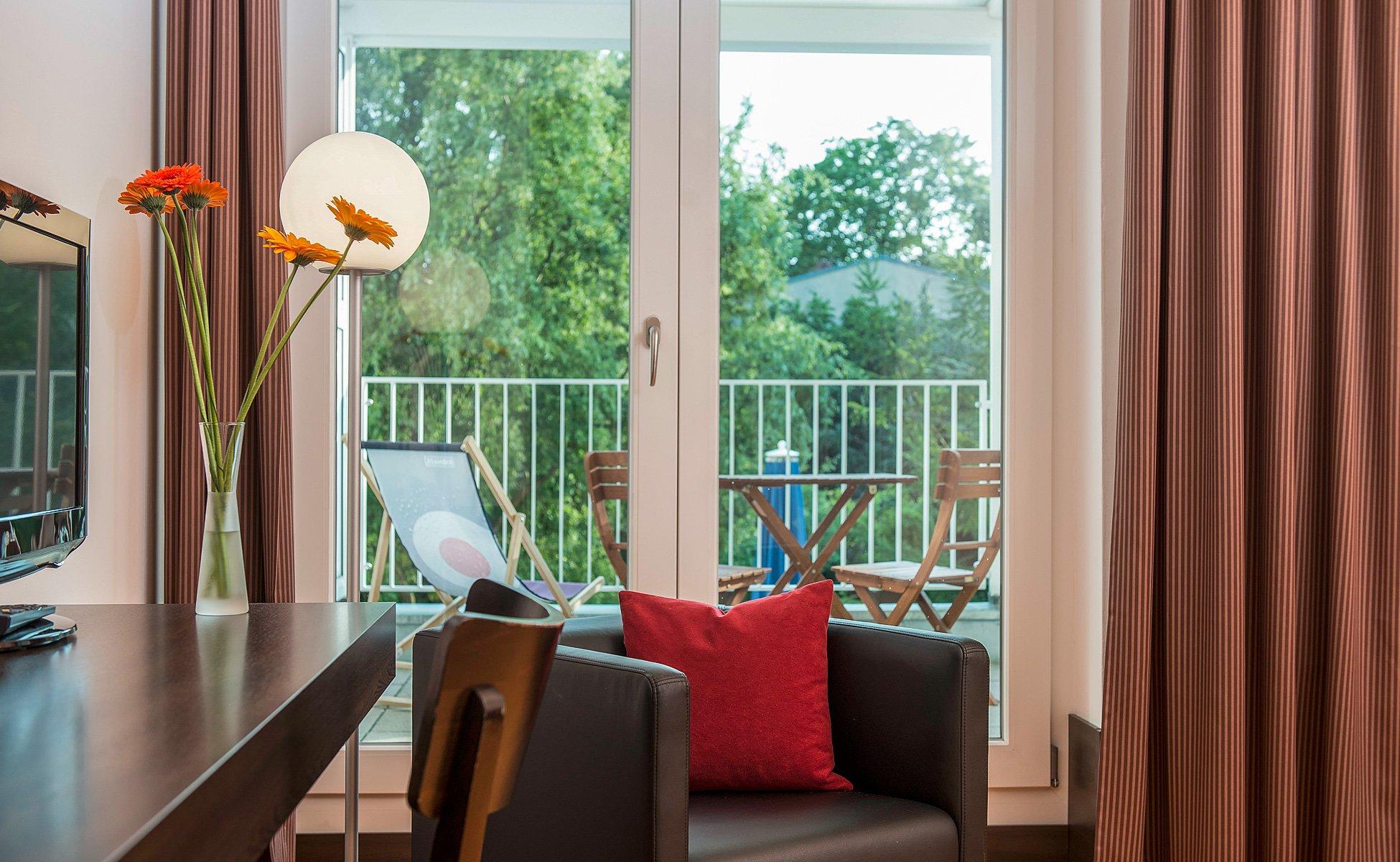 Hotel-Grenzfall Gartenblickzimmer mit Balkon Detail